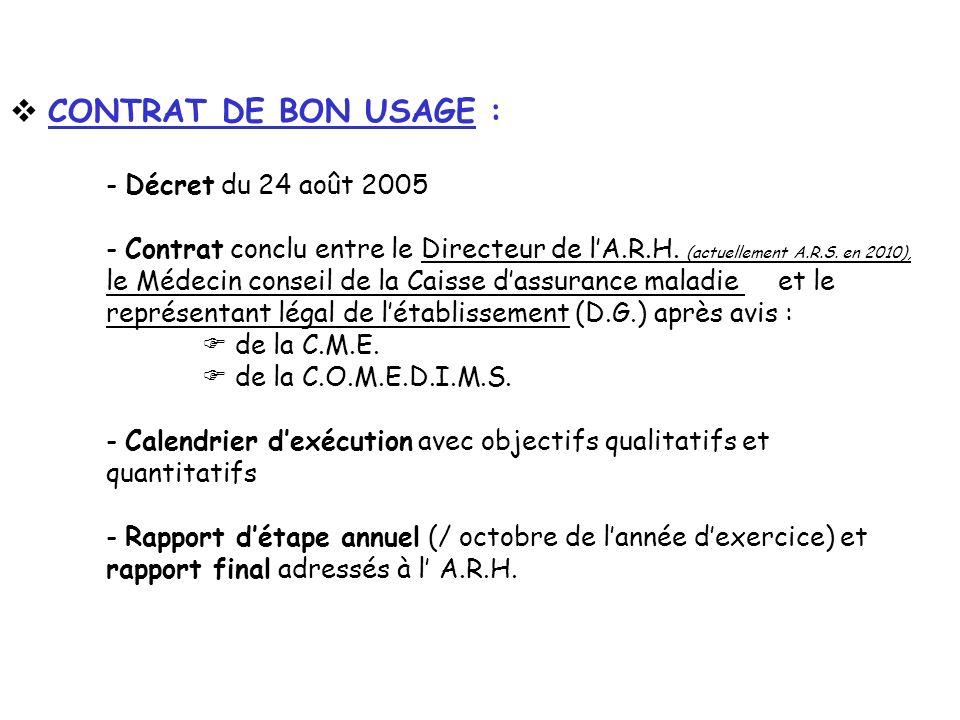 CONTRAT DE BON USAGE : - Décret du 24 août 2005 - Contrat conclu entre le Directeur de lA.R.H. (actuellement A.R.S. en 2010), le Médecin conseil de la