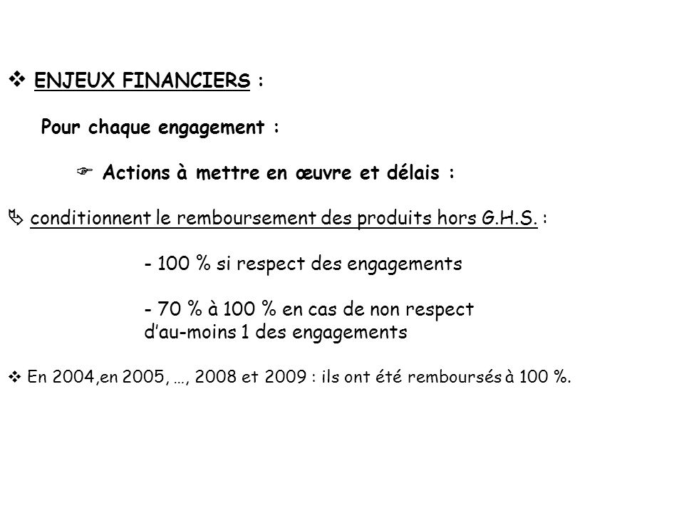ENJEUX FINANCIERS : Pour chaque engagement : Actions à mettre en œuvre et délais : conditionnent le remboursement des produits hors G.H.S. : - 100 % s