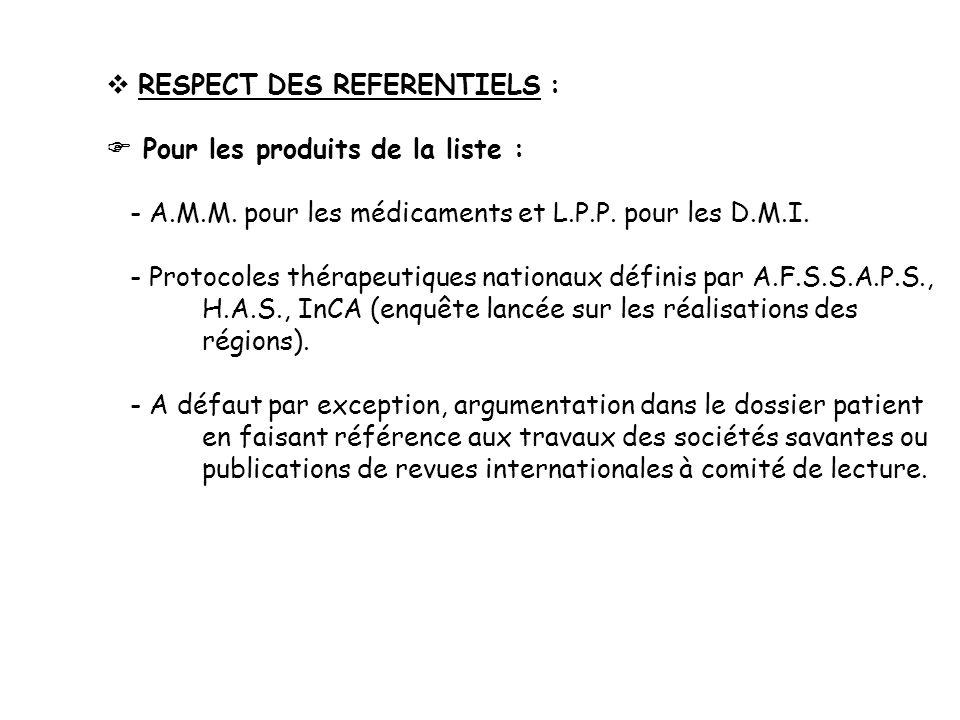 RESPECT DES REFERENTIELS : Pour les produits de la liste : - A.M.M. pour les médicaments et L.P.P. pour les D.M.I. - Protocoles thérapeutiques nationa