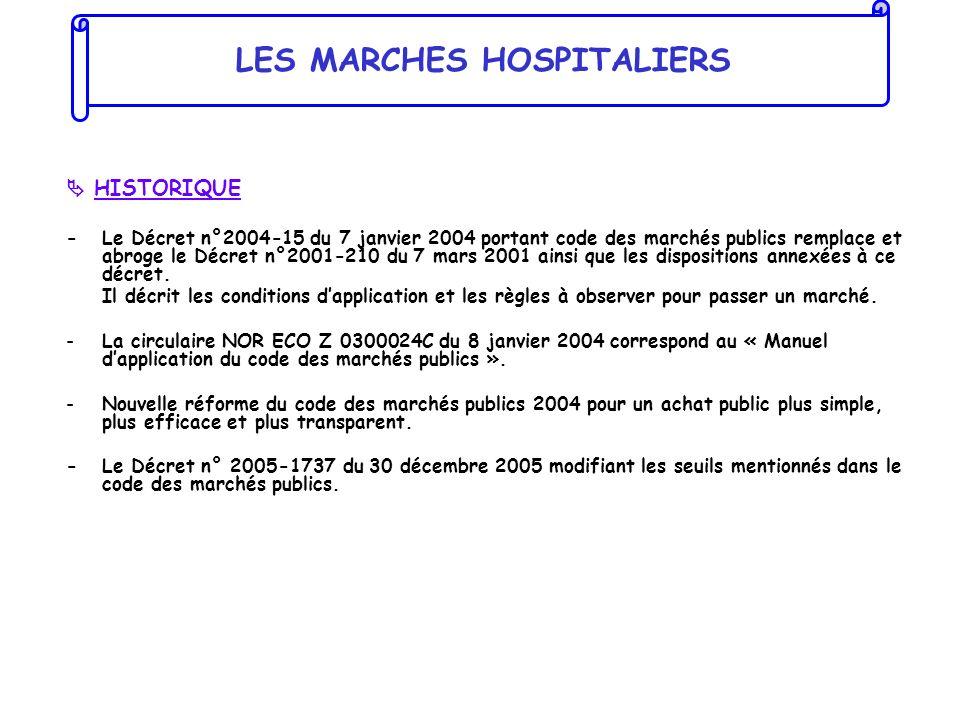 HISTORIQUE - Le Décret n°2004-15 du 7 janvier 2004 portant code des marchés publics remplace et abroge le Décret n°2001-210 du 7 mars 2001 ainsi que l