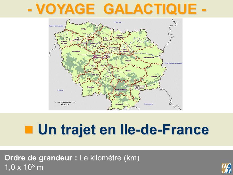 - VOYAGE GALACTIQUE - Un trajet en Ile-de-France Un trajet en Ile-de-France Ordre de grandeur : Le kilomètre (km) 1,0 x 10 3 m