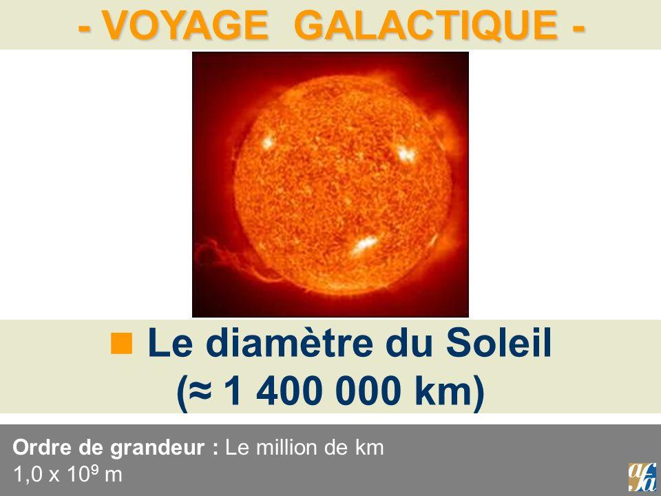 - VOYAGE GALACTIQUE - Le diamètre du Soleil ( 1 400 000 km) Ordre de grandeur : Le million de km 1,0 x 10 9 m