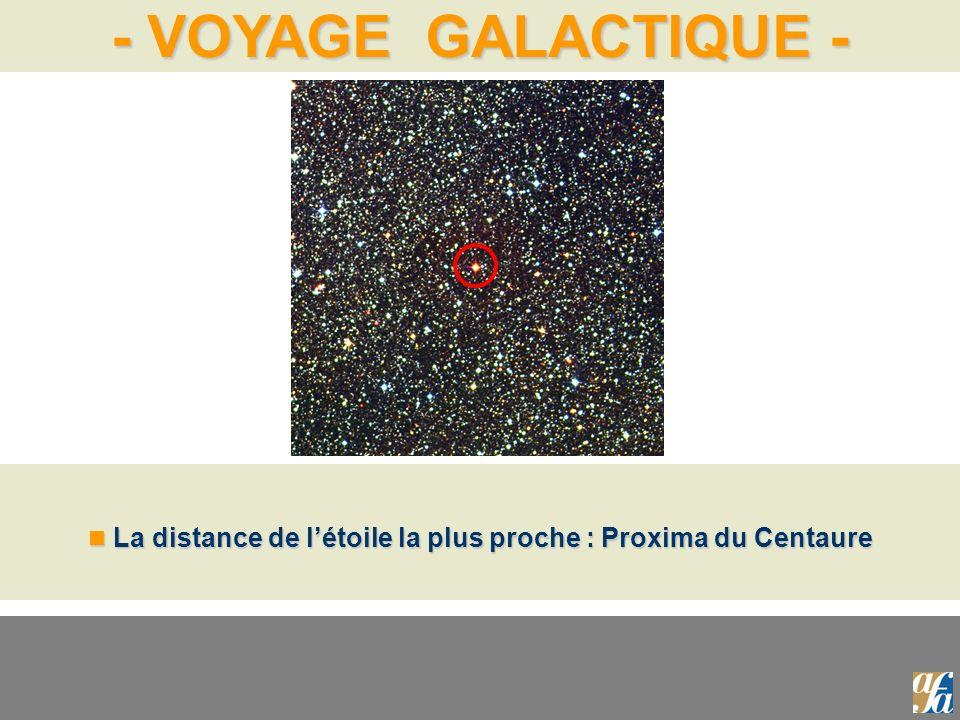 - VOYAGE GALACTIQUE - La distance de létoile la plus proche : Proxima du Centaure La distance de létoile la plus proche : Proxima du Centaure