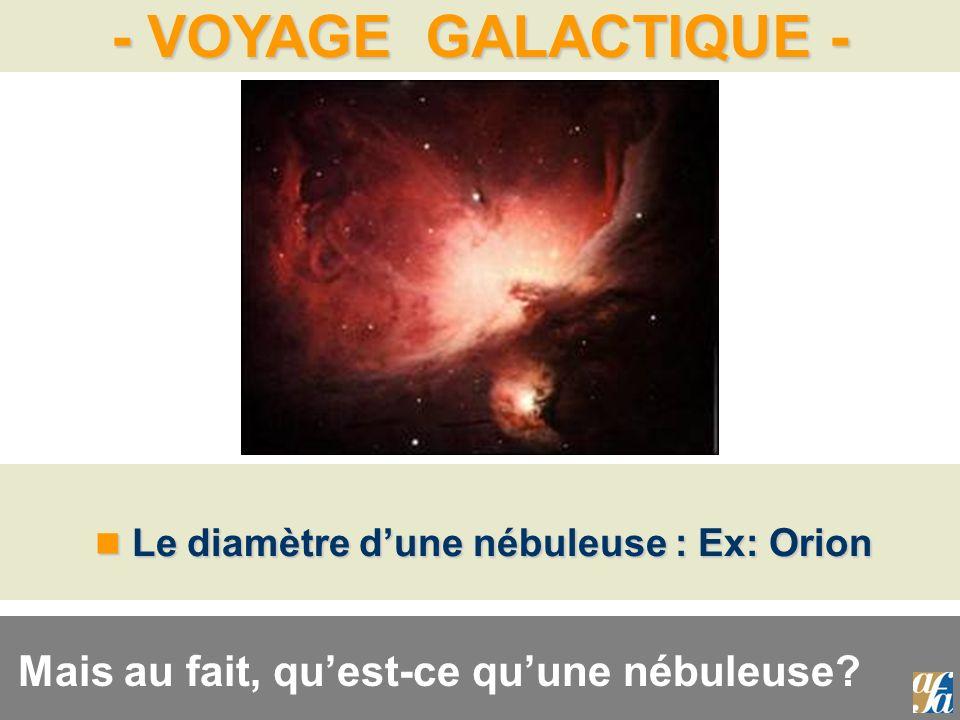 - VOYAGE GALACTIQUE - Le diamètre dune nébuleuse : Ex: Orion Le diamètre dune nébuleuse : Ex: Orion Mais au fait, quest-ce quune nébuleuse?
