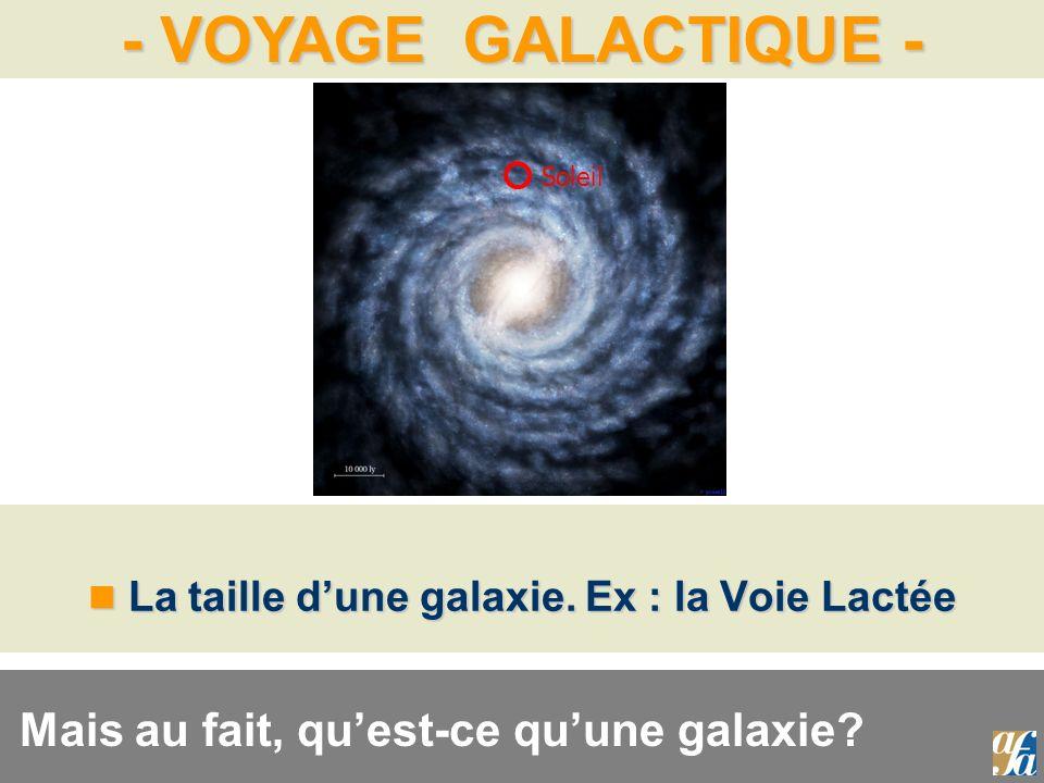 - VOYAGE GALACTIQUE - La taille dune galaxie. Ex : la Voie Lactée La taille dune galaxie. Ex : la Voie Lactée Soleil Mais au fait, quest-ce quune gala