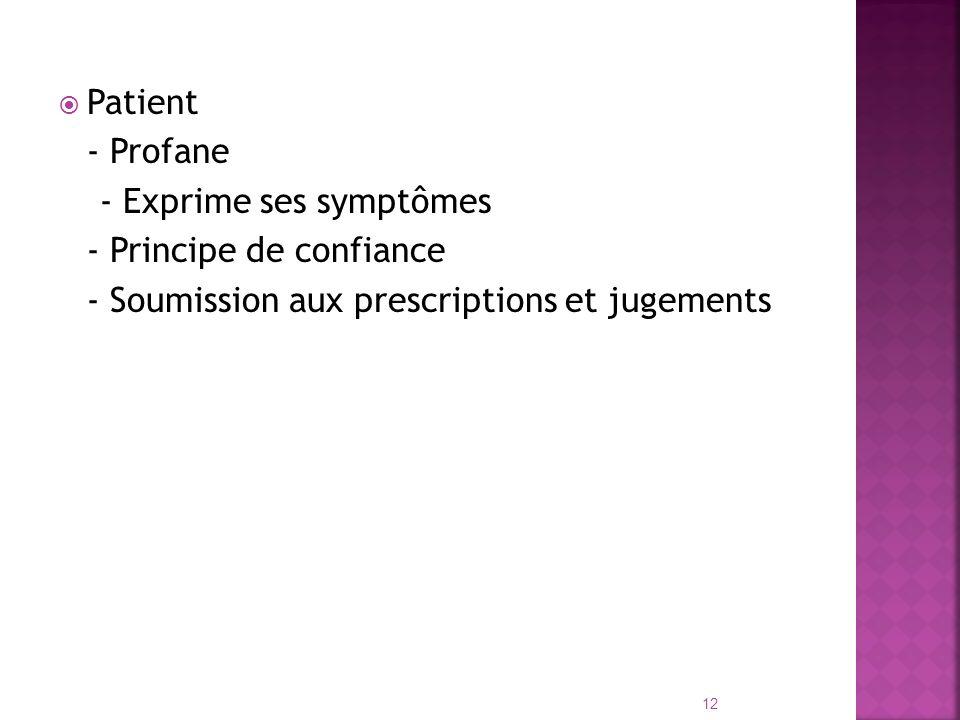 Patient - Profane - Exprime ses symptômes - Principe de confiance - Soumission aux prescriptions et jugements 12