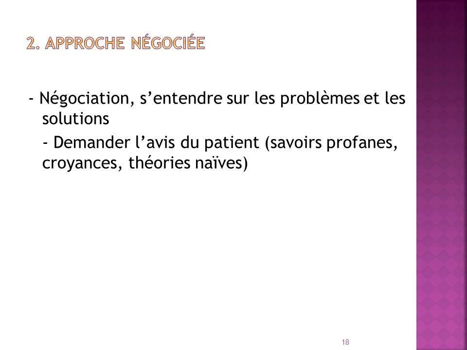 - Négociation, sentendre sur les problèmes et les solutions - Demander lavis du patient (savoirs profanes, croyances, théories naïves) 18