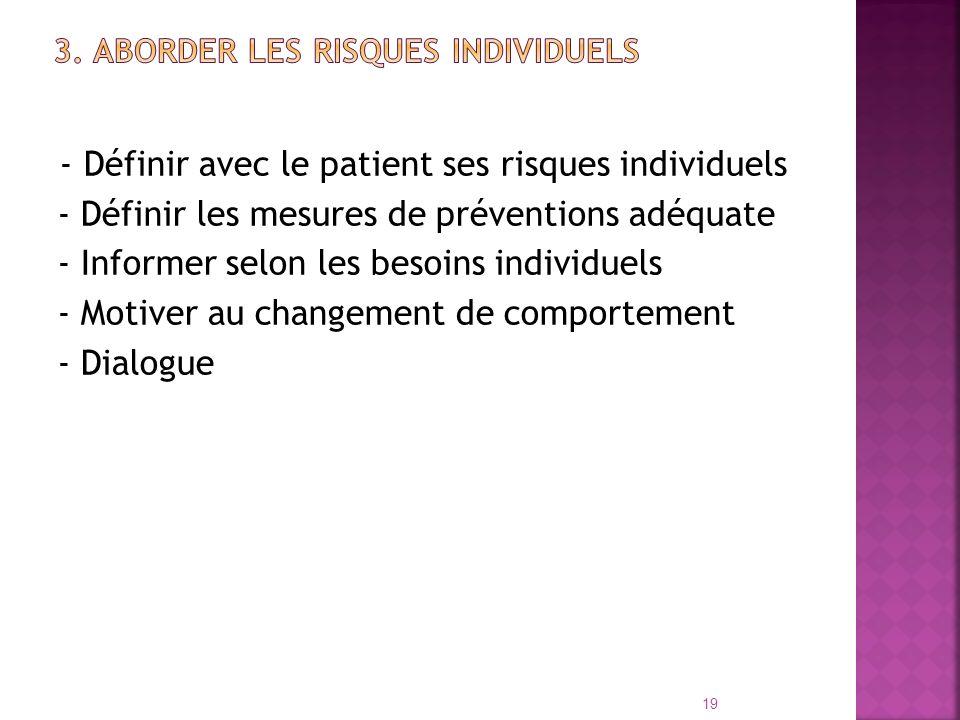 - Définir avec le patient ses risques individuels - Définir les mesures de préventions adéquate - Informer selon les besoins individuels - Motiver au