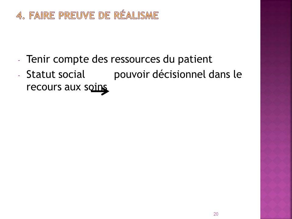 - Tenir compte des ressources du patient - Statut social pouvoir décisionnel dans le recours aux soins 20