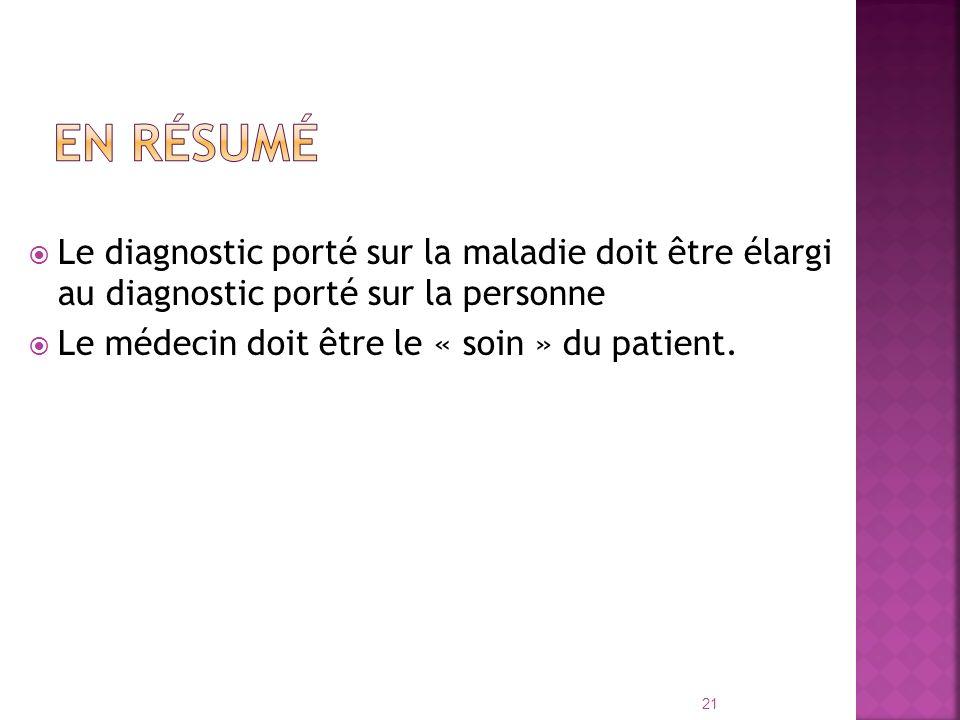 Le diagnostic porté sur la maladie doit être élargi au diagnostic porté sur la personne Le médecin doit être le « soin » du patient. 21