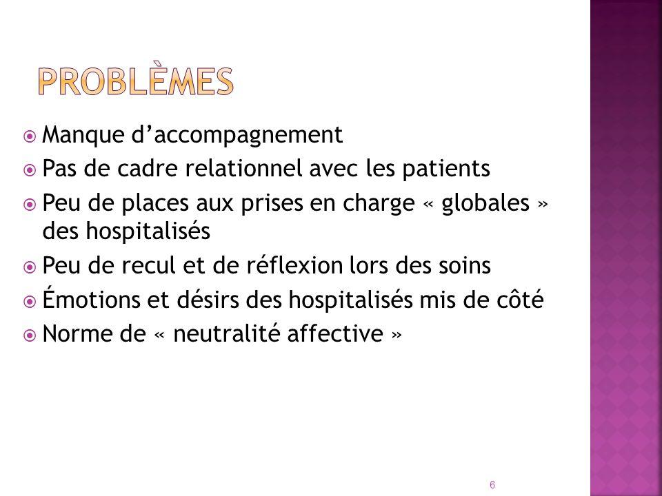 Manque daccompagnement Pas de cadre relationnel avec les patients Peu de places aux prises en charge « globales » des hospitalisés Peu de recul et de
