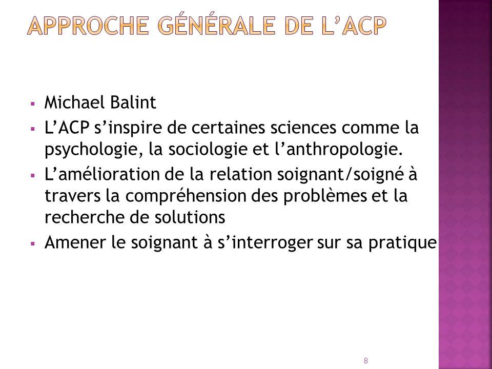 Michael Balint LACP sinspire de certaines sciences comme la psychologie, la sociologie et lanthropologie. Lamélioration de la relation soignant/soigné