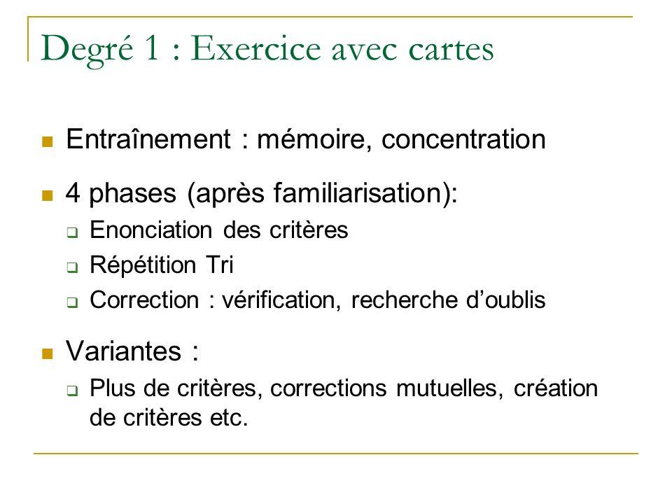 Degré 1 : Exercice avec cartes Entraînement : mémoire, concentration 4 phases (après familiarisation): Enonciation des critères Répétition Tri Correct