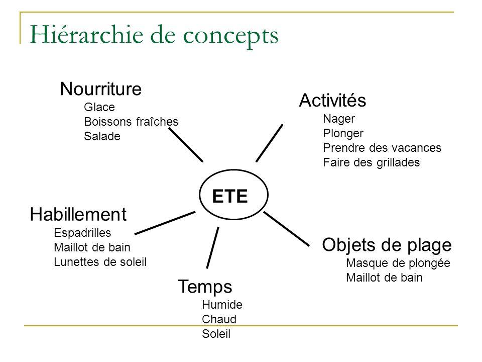Hiérarchie de concepts ETE Objets de plage Masque de plongée Maillot de bain Activités Nager Plonger Prendre des vacances Faire des grillades Habillem