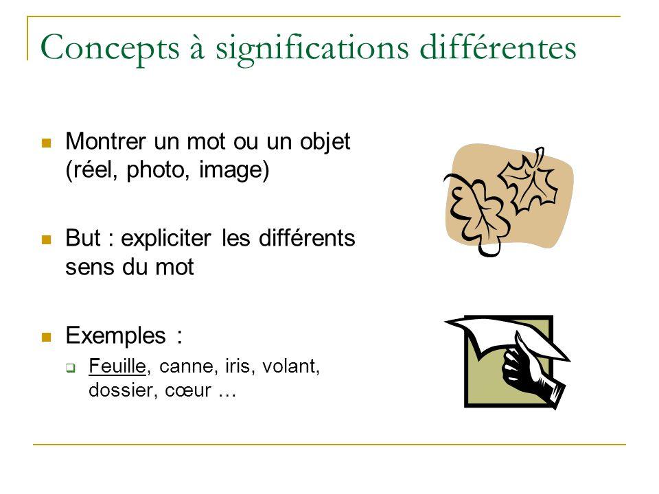 Concepts à significations différentes Montrer un mot ou un objet (réel, photo, image) But : expliciter les différents sens du mot Exemples : Feuille,