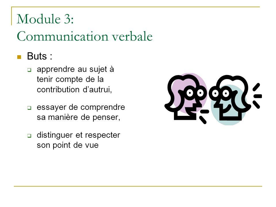 Module 3: Communication verbale Buts : apprendre au sujet à tenir compte de la contribution dautrui, essayer de comprendre sa manière de penser, disti