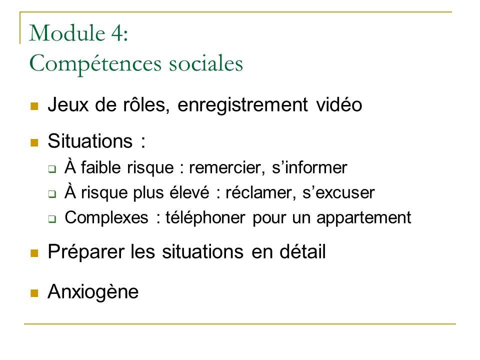 Module 4: Compétences sociales Jeux de rôles, enregistrement vidéo Situations : À faible risque : remercier, sinformer À risque plus élevé : réclamer,