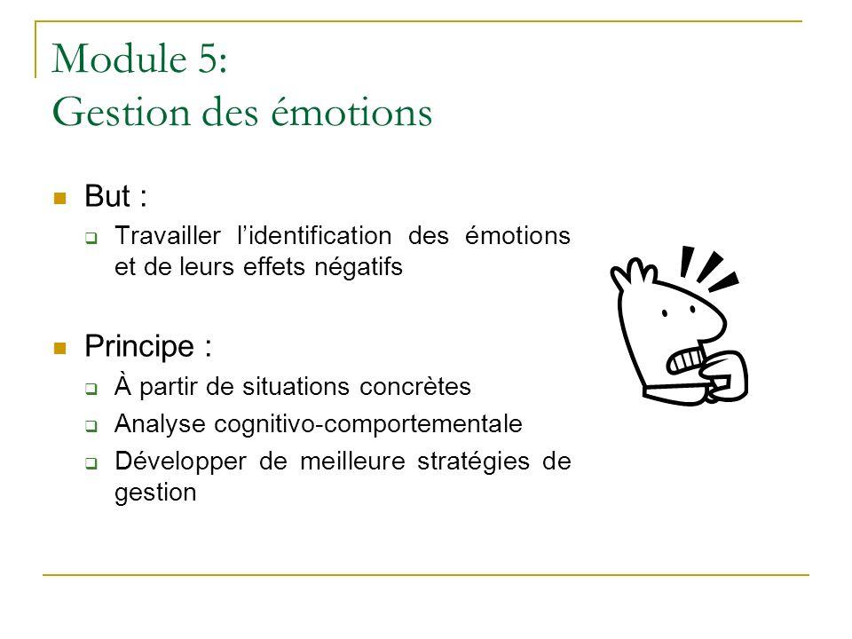 Module 5: Gestion des émotions But : Travailler lidentification des émotions et de leurs effets négatifs Principe : À partir de situations concrètes A