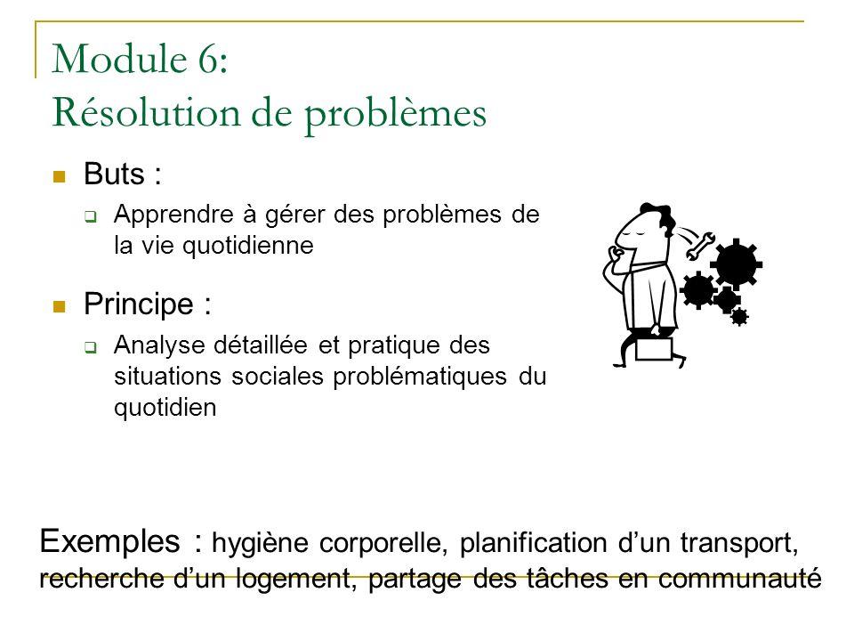 Module 6: Résolution de problèmes Buts : Apprendre à gérer des problèmes de la vie quotidienne Principe : Analyse détaillée et pratique des situations