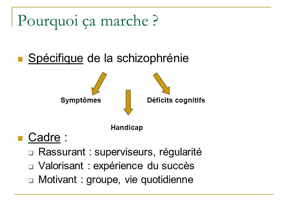 Pourquoi ça marche ? Spécifique de la schizophrénie Cadre : Rassurant : superviseurs, régularité Valorisant : expérience du succès Motivant : groupe,