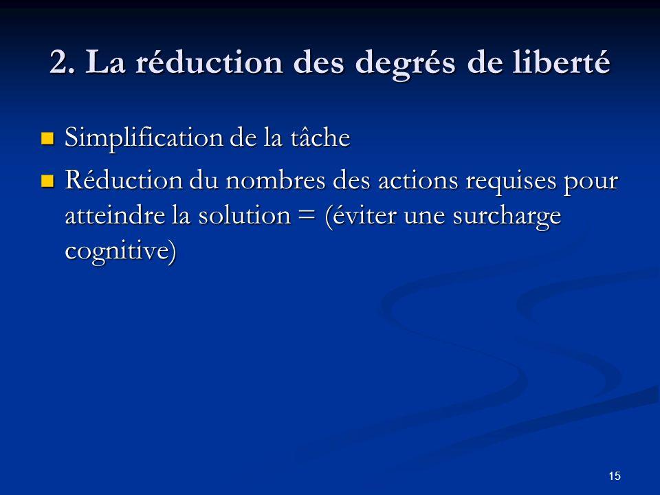 15 2. La réduction des degrés de liberté Simplification de la tâche Simplification de la tâche Réduction du nombres des actions requises pour atteindr
