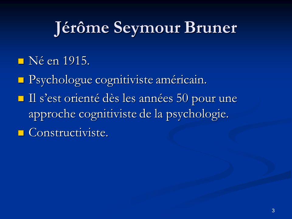 3 Jérôme Seymour Bruner Né en 1915. Né en 1915. Psychologue cognitiviste américain. Psychologue cognitiviste américain. Il sest orienté dès les années