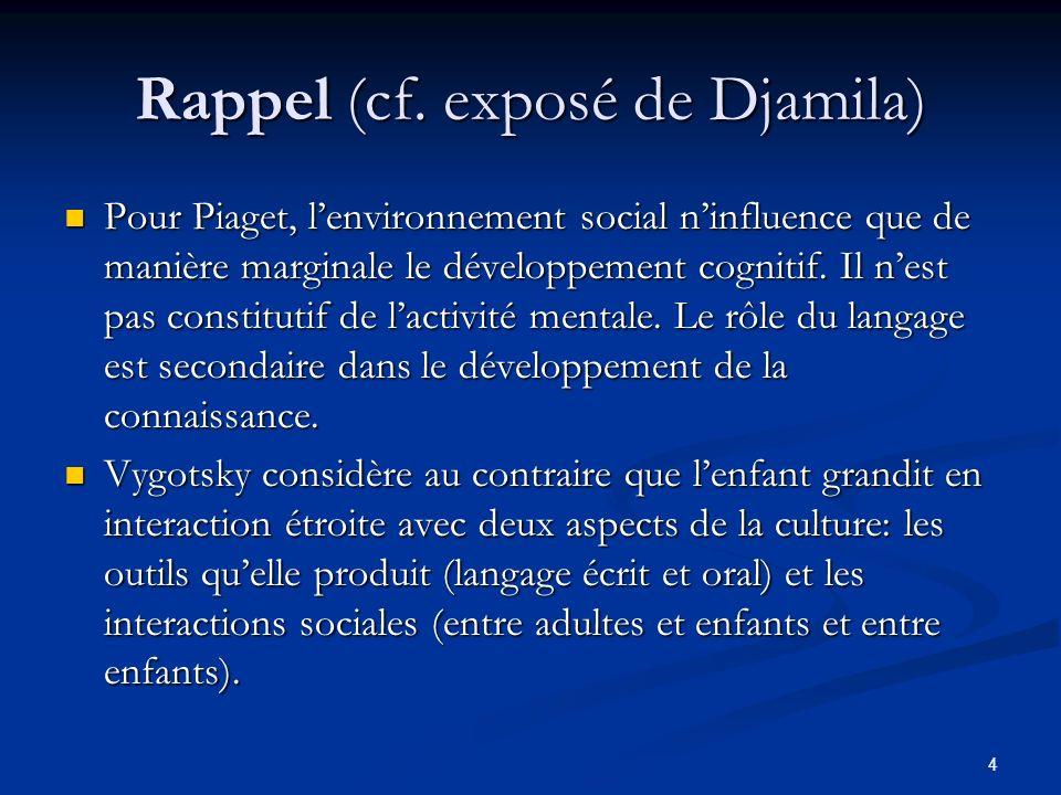 4 Rappel (cf. exposé de Djamila) Pour Piaget, lenvironnement social ninfluence que de manière marginale le développement cognitif. Il nest pas constit