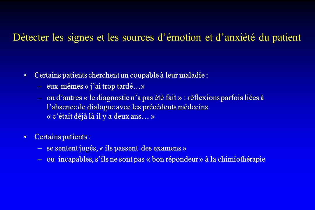 Détecter les signes et les sources démotion et danxiété du patient Certains patients cherchent un coupable à leur maladie : –eux-mêmes « jai trop tard