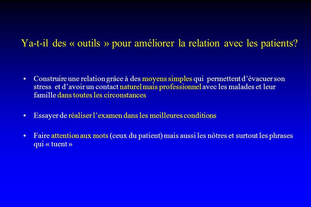 Ya-t-il des « outils » pour améliorer la relation avec les patients? Construire une relation grâce à des moyens simples qui permettent dévacuer son st