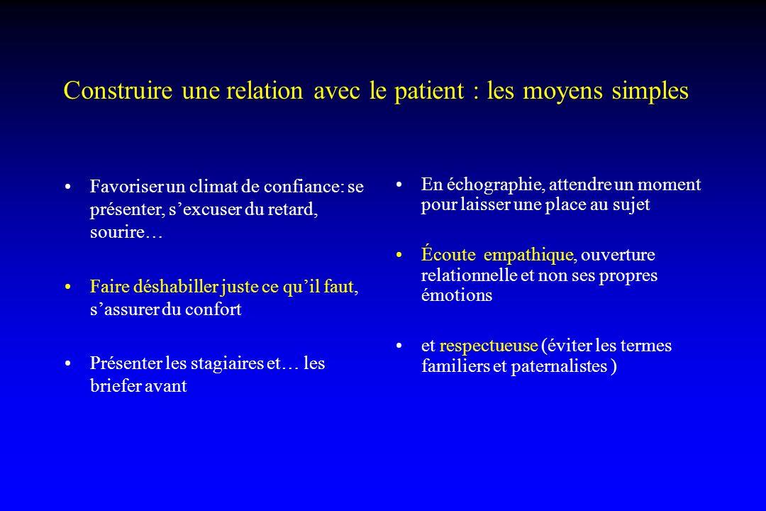 Construire une relation avec le patient : les moyens simples Favoriser un climat de confiance: se présenter, sexcuser du retard, sourire… Faire déshab