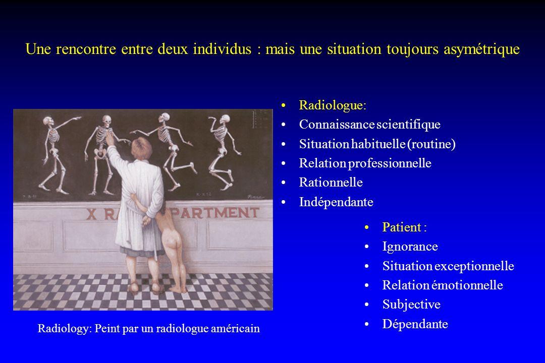 Une rencontre entre deux individus : mais une situation toujours asymétrique Radiologue: Connaissance scientifique Situation habituelle (routine) Rela