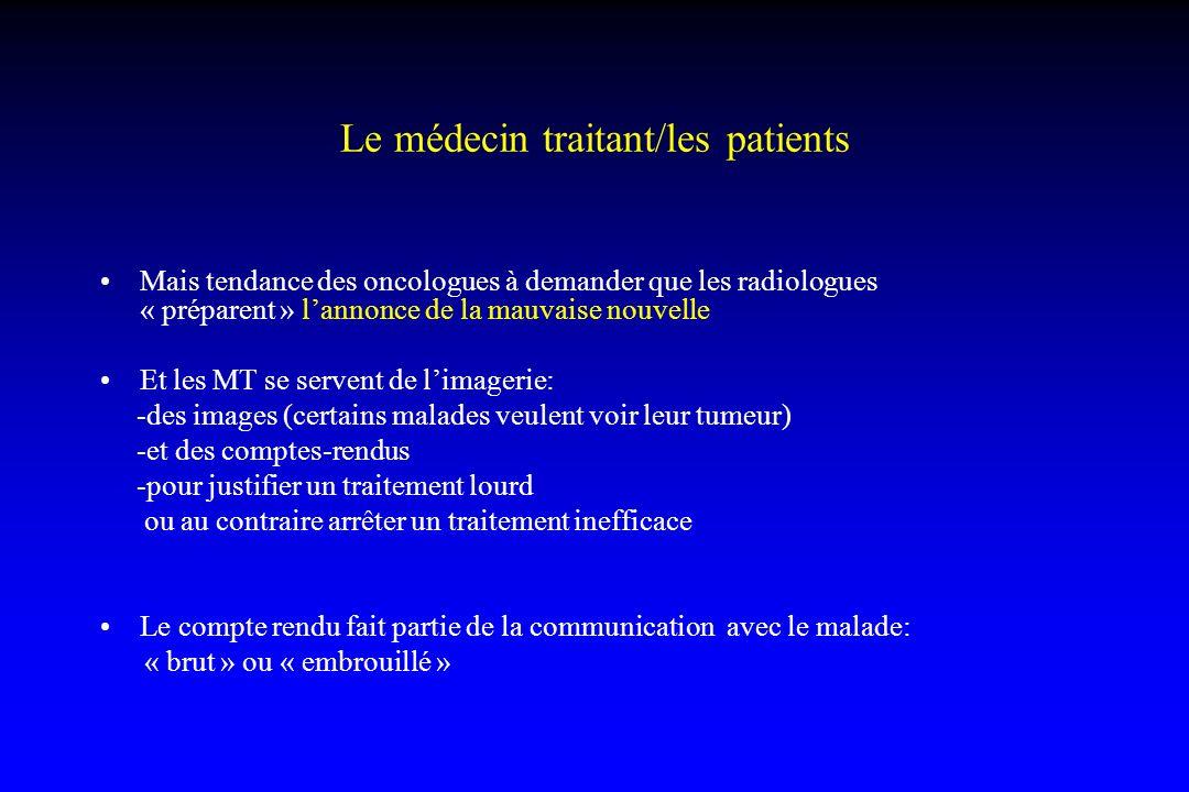 Le médecin traitant/les patients Mais tendance des oncologues à demander que les radiologues « préparent » lannonce de la mauvaise nouvelle Et les MT