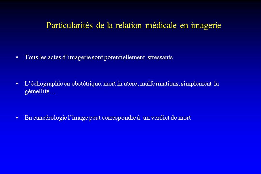 Particularités de la relation médicale en imagerie Tous les actes dimagerie sont potentiellement stressants Léchographie en obstétrique: mort in utero