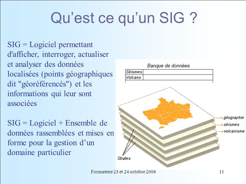 Formaterre 23 et 24 octobre 200611 Quest ce quun SIG ? SIG = Logiciel permettant d'afficher, interroger, actualiser et analyser des données localisées