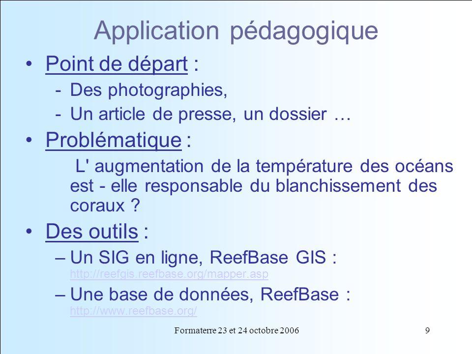 Formaterre 23 et 24 octobre 20069 Application pédagogique Point de départ : -Des photographies, -Un article de presse, un dossier … Problématique : L'