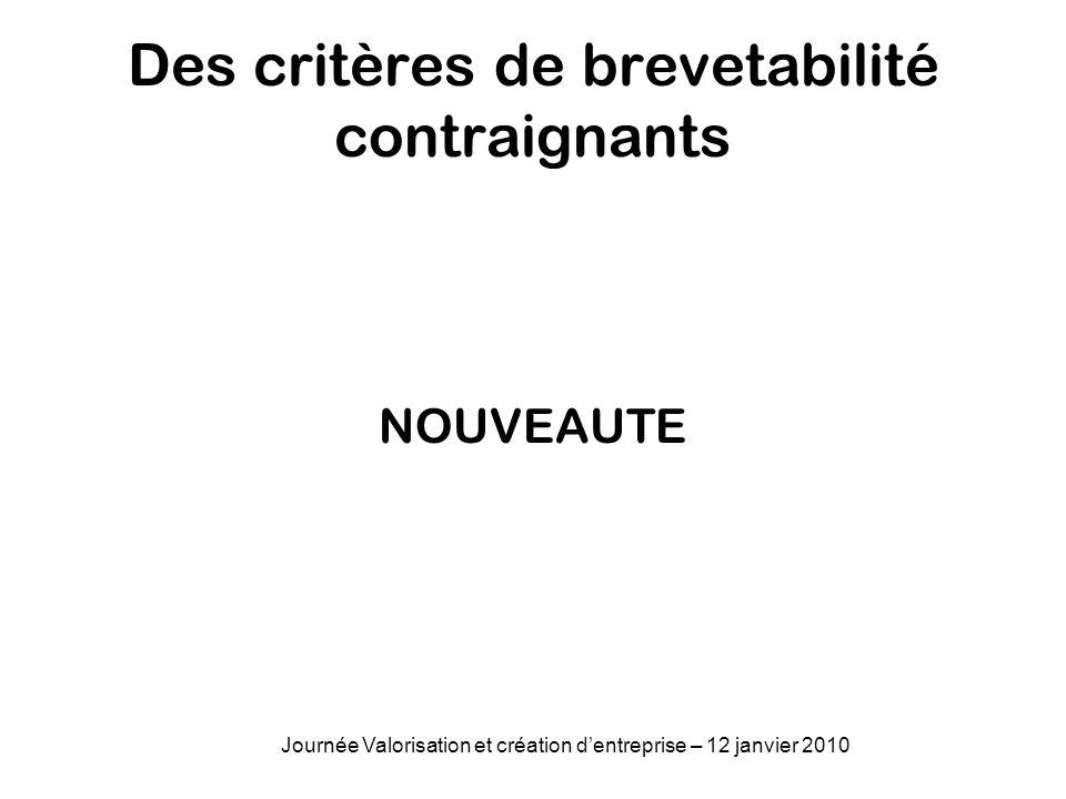 Des critères de brevetabilité contraignants NOUVEAUTE Journée Valorisation et création dentreprise – 12 janvier 2010