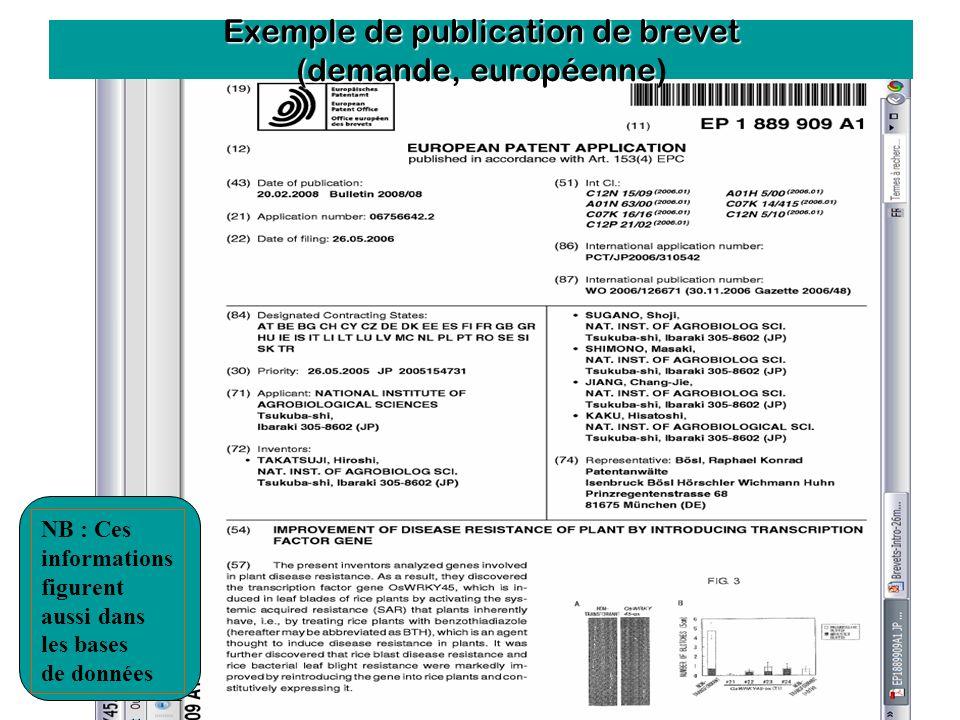 Débats de l'Agro - 15 décembre 2009 Exemple de publication de brevet (demande, européenne Exemple de publication de brevet (demande, européenne) NB :