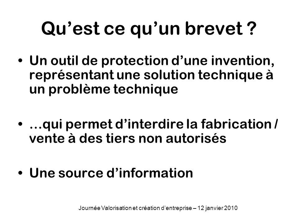 Objets brevetables Un procédé Un produit Une application Journée Valorisation et création dentreprise – 12 janvier 2010