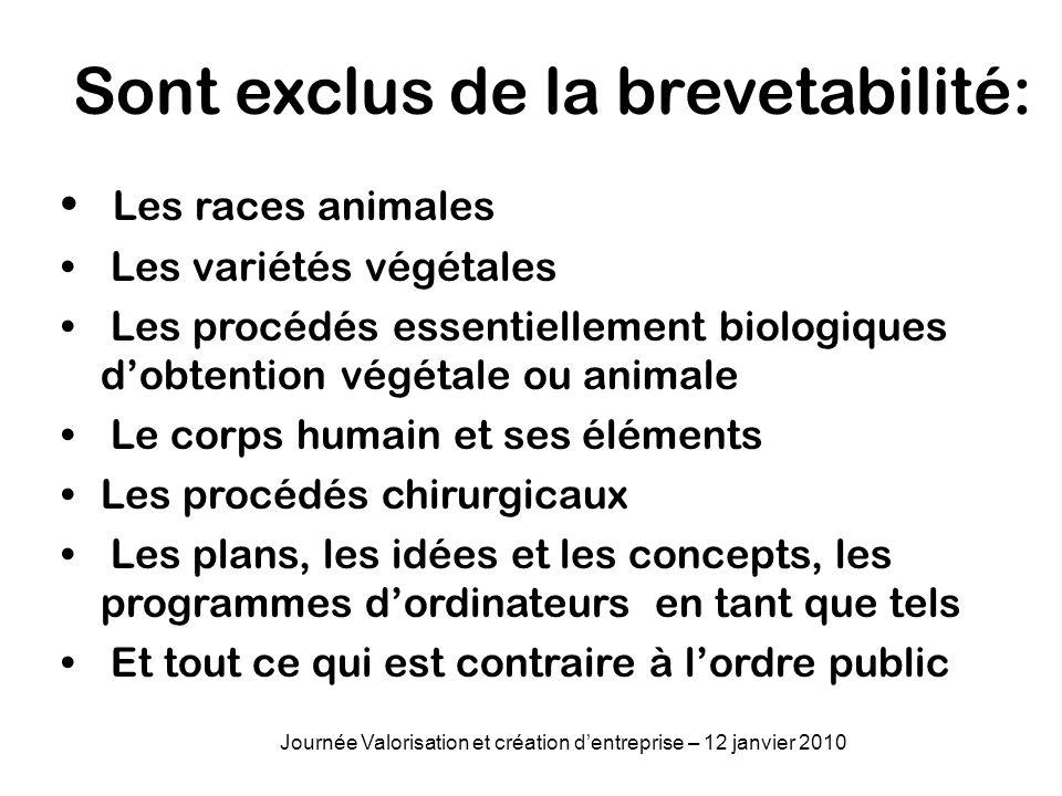 Sont exclus de la brevetabilité: Les races animales Les variétés végétales Les procédés essentiellement biologiques dobtention végétale ou animale Le