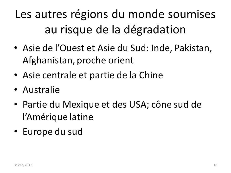 Les autres régions du monde soumises au risque de la dégradation Asie de lOuest et Asie du Sud: Inde, Pakistan, Afghanistan, proche orient Asie centra