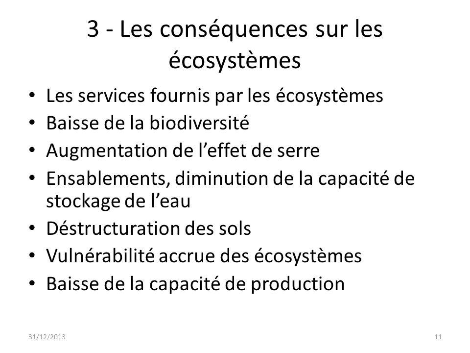 3 - Les conséquences sur les écosystèmes Les services fournis par les écosystèmes Baisse de la biodiversité Augmentation de leffet de serre Ensablemen