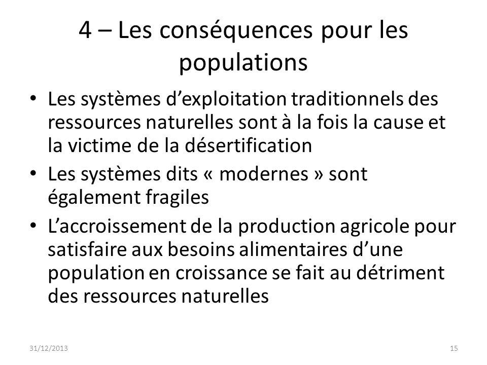 4 – Les conséquences pour les populations Les systèmes dexploitation traditionnels des ressources naturelles sont à la fois la cause et la victime de