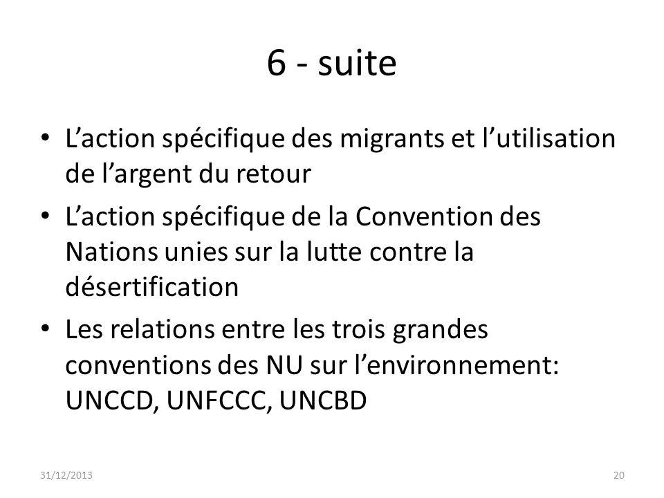 6 - suite Laction spécifique des migrants et lutilisation de largent du retour Laction spécifique de la Convention des Nations unies sur la lutte cont