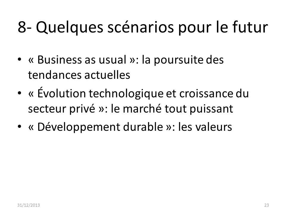 8- Quelques scénarios pour le futur « Business as usual »: la poursuite des tendances actuelles « Évolution technologique et croissance du secteur pri