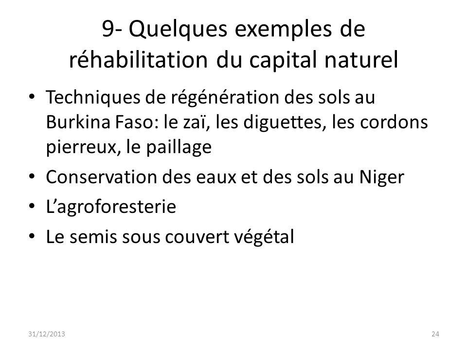 9- Quelques exemples de réhabilitation du capital naturel Techniques de régénération des sols au Burkina Faso: le zaï, les diguettes, les cordons pier
