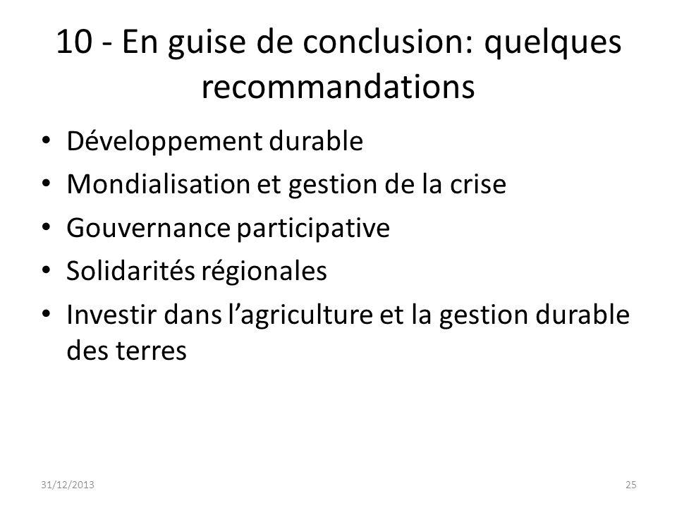 10 - En guise de conclusion: quelques recommandations Développement durable Mondialisation et gestion de la crise Gouvernance participative Solidarité