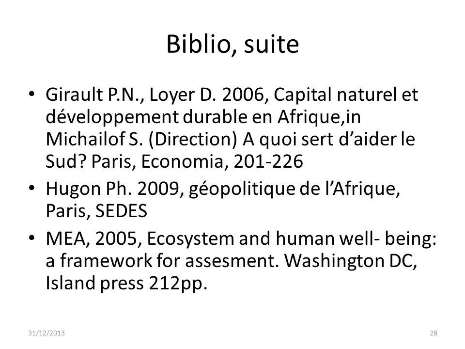 Biblio, suite Girault P.N., Loyer D. 2006, Capital naturel et développement durable en Afrique,in Michailof S. (Direction) A quoi sert daider le Sud?