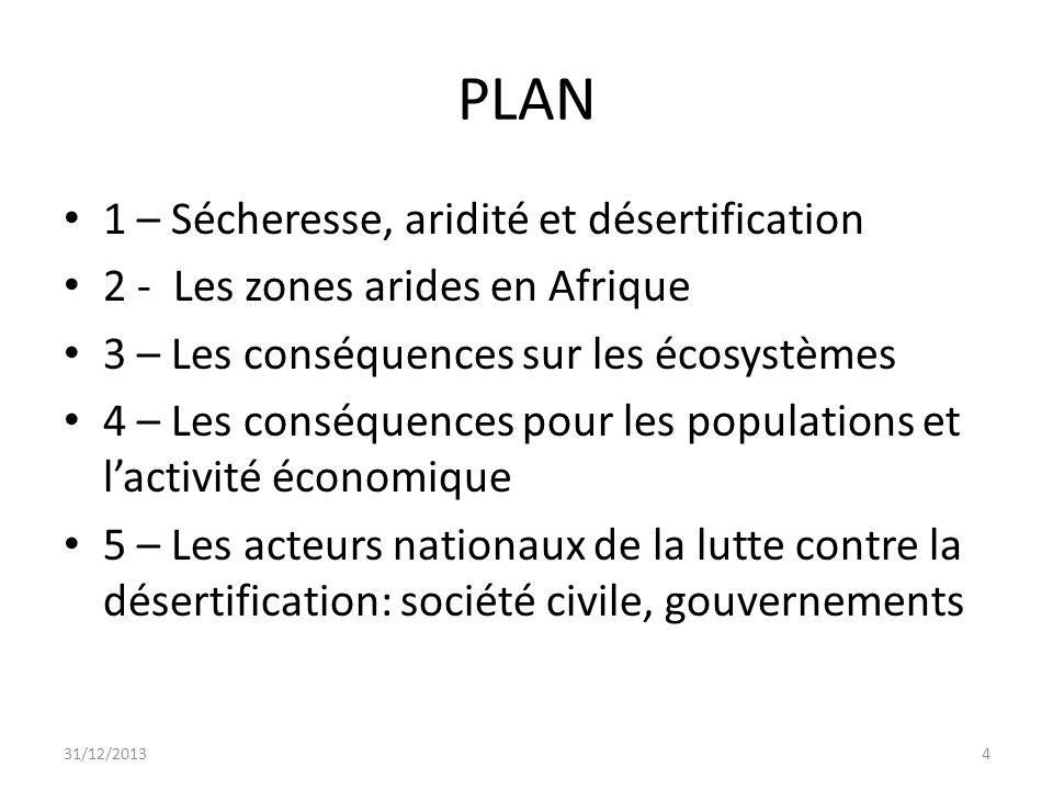 PLAN 1 – Sécheresse, aridité et désertification 2 - Les zones arides en Afrique 3 – Les conséquences sur les écosystèmes 4 – Les conséquences pour les
