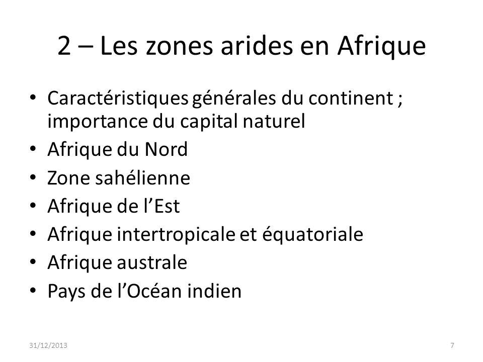 Quelques chiffres 780 millions dhabitants dont presque 500 concernés Superficie totale du continent: 30 M km2 Désert du Sahara : 8 M km2; désert dAfrique australe: 1 M km2 13 M km2 sont soumis à la dégradation 2,5 M km2, soit 250 M ha sont modérément soumis 31/12/20138