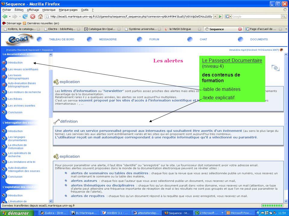 19 juin 2007 SCD-Université Antilles Guyane - Marie France Grouvel / H.Chasserieau Le Passeport Documentaire (niveau 4) des contenus de formation -tab